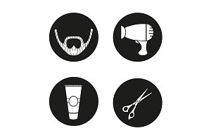 Barbershop. 4 icons. Vector