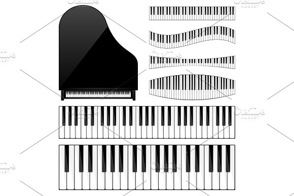 Piano With Keyboard Key Musical Background Melody Instrument Set Sound Classical Instrument