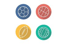Sport balls. 4 icons. Vector