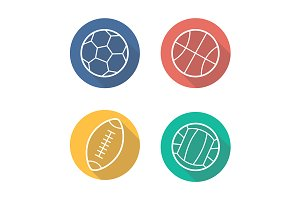 Sport balls. 4 icons. Vector