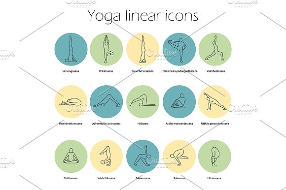 Yoga Poses 15 Icons Vector
