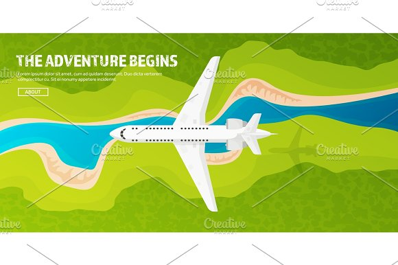 Plane Travel And Tourism Airplane Aviation Summer Holidays Vacation.Landing Flight Air Travelling Sky Aerial Background Journey