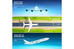 Plane. Travel and tourism. Airplane, aviation. Summer holidays, vacation.Landing. Flight, air travelling. Sky, aerial background. Journey.
