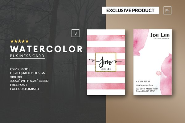 Business Card Templates: John Wayk Co. - Personal Watercolor Business Card
