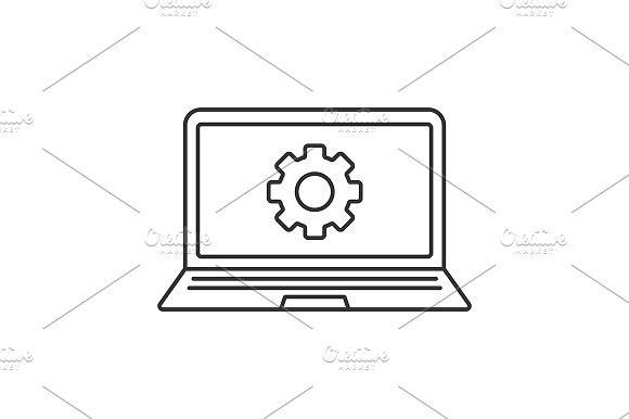 Laptop Settings Icon Vector