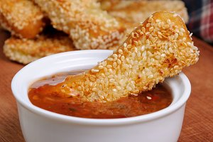 Cheese bread sticks in sesame