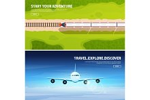Train, railwa station. Travel and tourism. Airplane, aviation. Summer holidays, vacation. Plane landing. Flight, air travelling. Sky, aerial background. Journey.