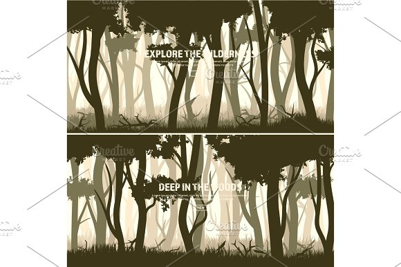 Trees Set Wild Pine Forest Nature Background Wood.Vector Illustration.Banner Dark Green Tree Landscape.Grass Meadow
