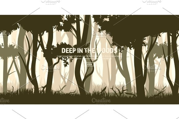 Trees Set Wild Pine Forest Nature Background Wood.Vector Illustration.Banner Dark Green Tree Landscape.Grass Meadow