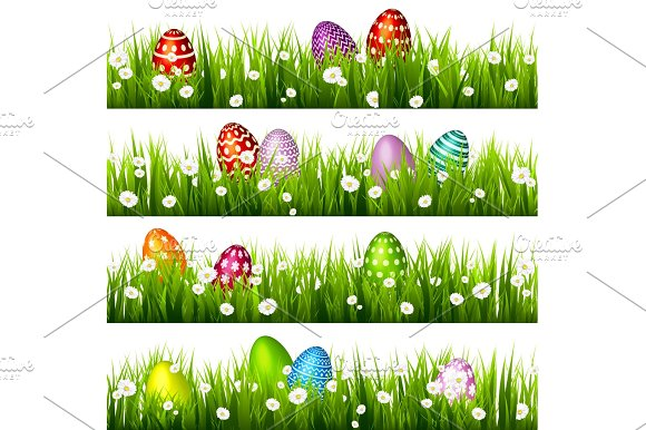 Easter Egg On The Green Grass Seasonal Holidays In April.Flowers.Banner