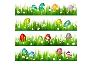 Easter egg on the green grass. Seasonal holidays in April.Flowers.Banner.