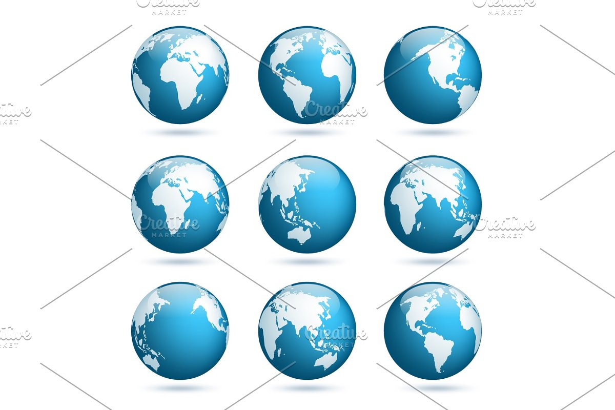 Earth globe. World map set. Planet with continents.Africa Asia, Australia, on map of world globe, map of north america globe, map of new zealand globe, map of middle east globe,