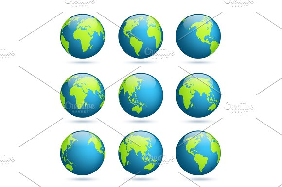 Earth Globe World Map Set Planet With Continents.Africa Asia Australia Europe North America And South America