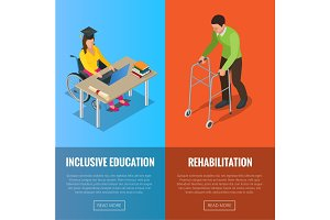 Disabled people banners with wheelchair and rehabilitation flat isolated vector illustration