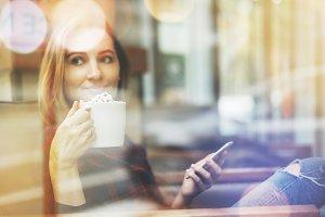 Businesswomen enjoying coffee