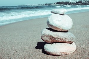 Pebbles stack balance on the beach