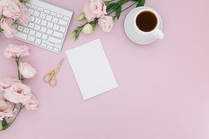 Pink Styled Desk Photo