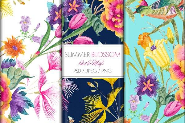 Watercolor Summer Blossoms