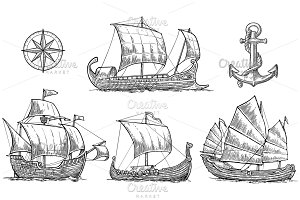Trireme caravel drakkar junk anchor