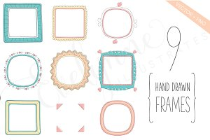 9 Hand Drawn Frames (eps & png)
