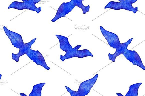 Watercolor Birds Seamless Pattern