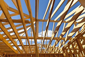 Home construction with wood framing