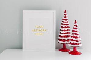 Christmas Holiday White Frame Image