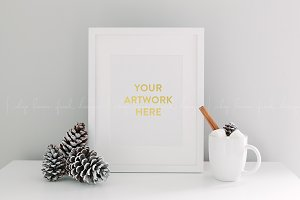 Winter Holiday White Frame Image