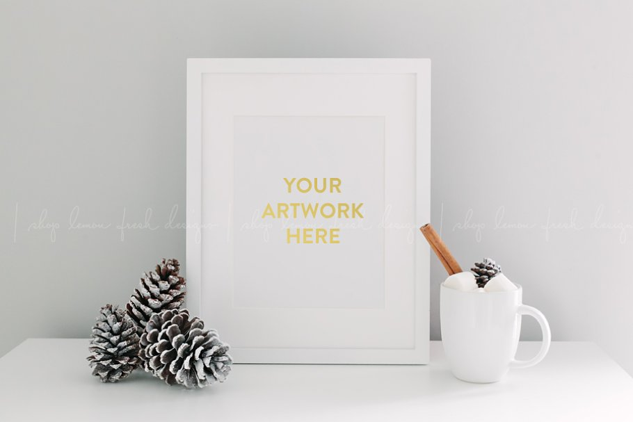 Winter Holiday White Frame Image in Product Mockups - product preview 8