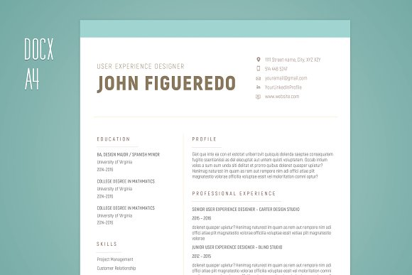 Resume Single Page Cover Letter