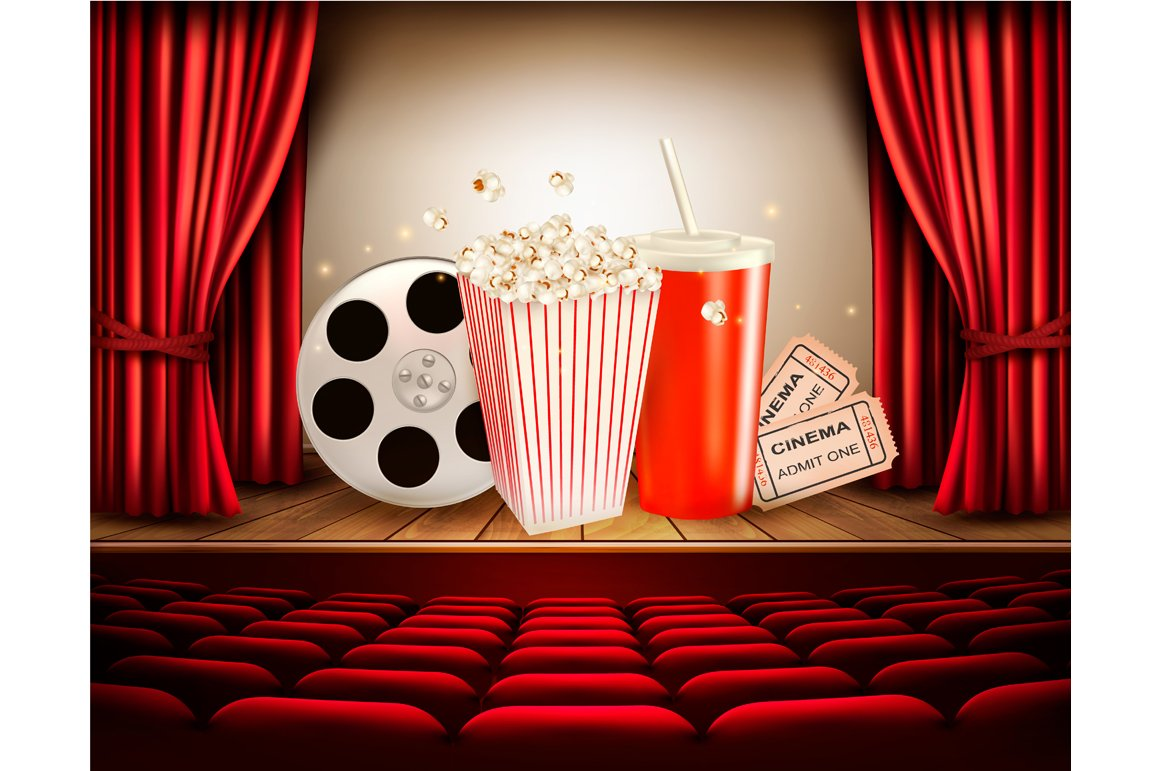 Cinema background with a film reel ~ Illustrations ...