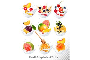 Icons of fruit in a milk splash