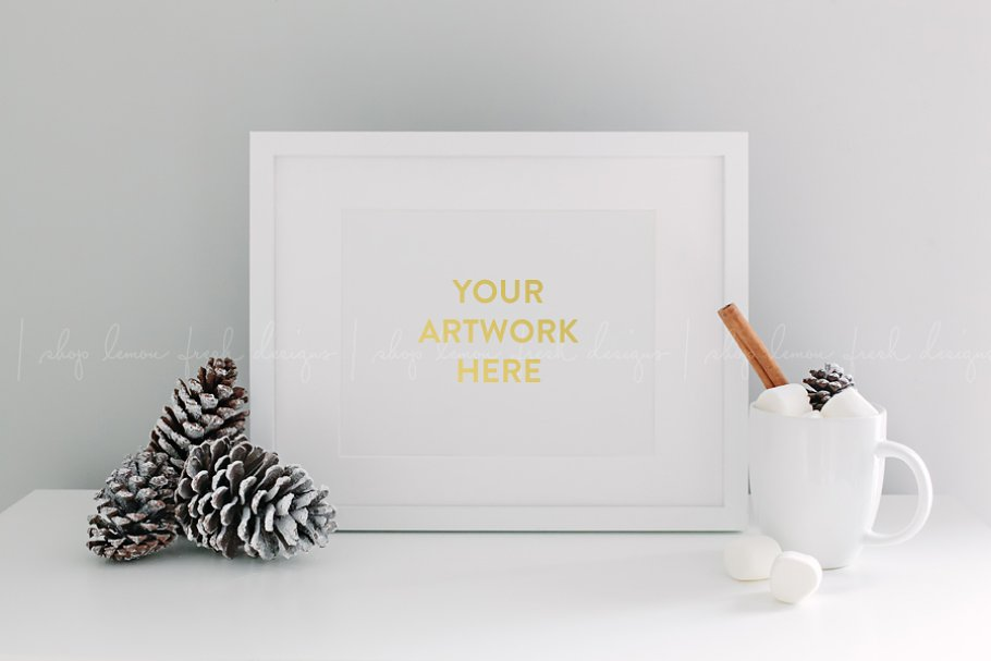Christmas Holiday White Frame Image in Product Mockups - product preview 8