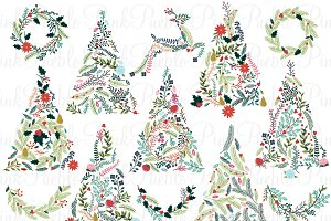 Floral Christmas Trees & Bunting