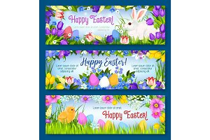 Happy Easter vector paschal eggs bunny banners set