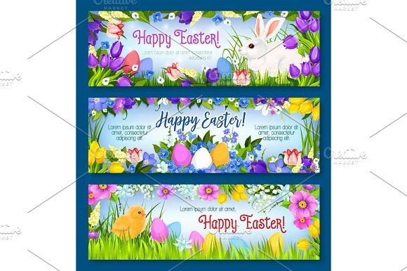 Happy Easter Vector Paschal Eggs Bunny Banners Set