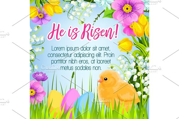 Easter Vector Poster Card Paschal Eggs Greetings