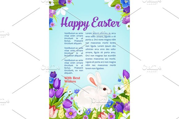 Easter Wishes And Greeting Vector Poster