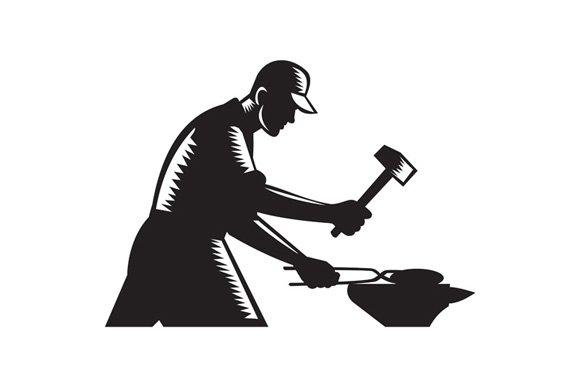 Blacksmith Worker Forging Iron