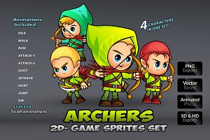 Archers 2D Game Sprites Set