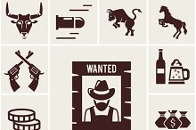 Wild west wanted poster icon