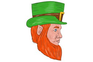 Leprechaun Head Side Drawing