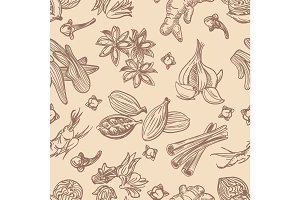 Hand drawn spices seamless pattern
