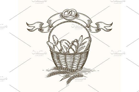 Wheat Bakery Basket Sketch