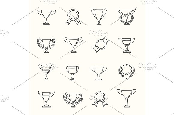 Awards And Prize Line Icons