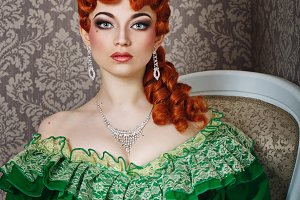 Princess in magnificent green dress