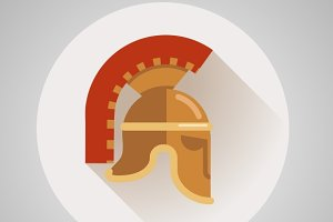Ancient helmet flat logo