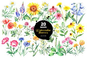 Watercolor Garden&Wild Flowers Set