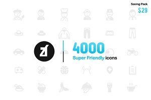 4000 Super friendly icons bundle