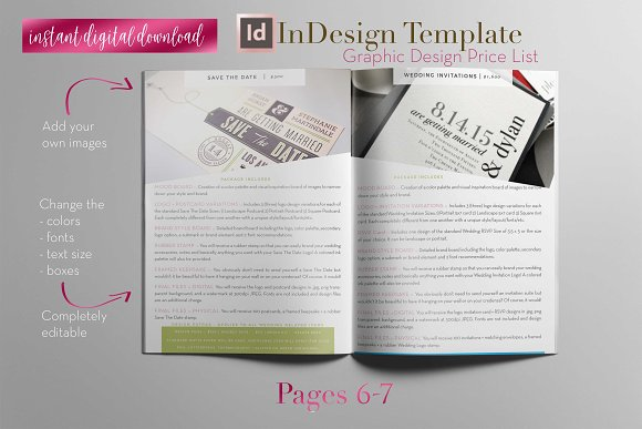 price list a indesign template brochure templates creative market